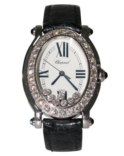 Chopard Vintage Diamond Happy Sport Alligator strap Watch