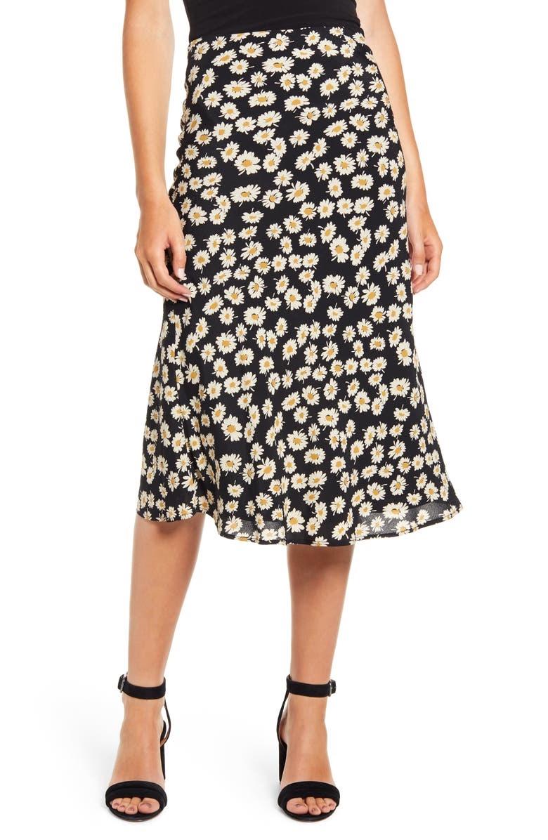 Rails Black Daisy Print Skirt