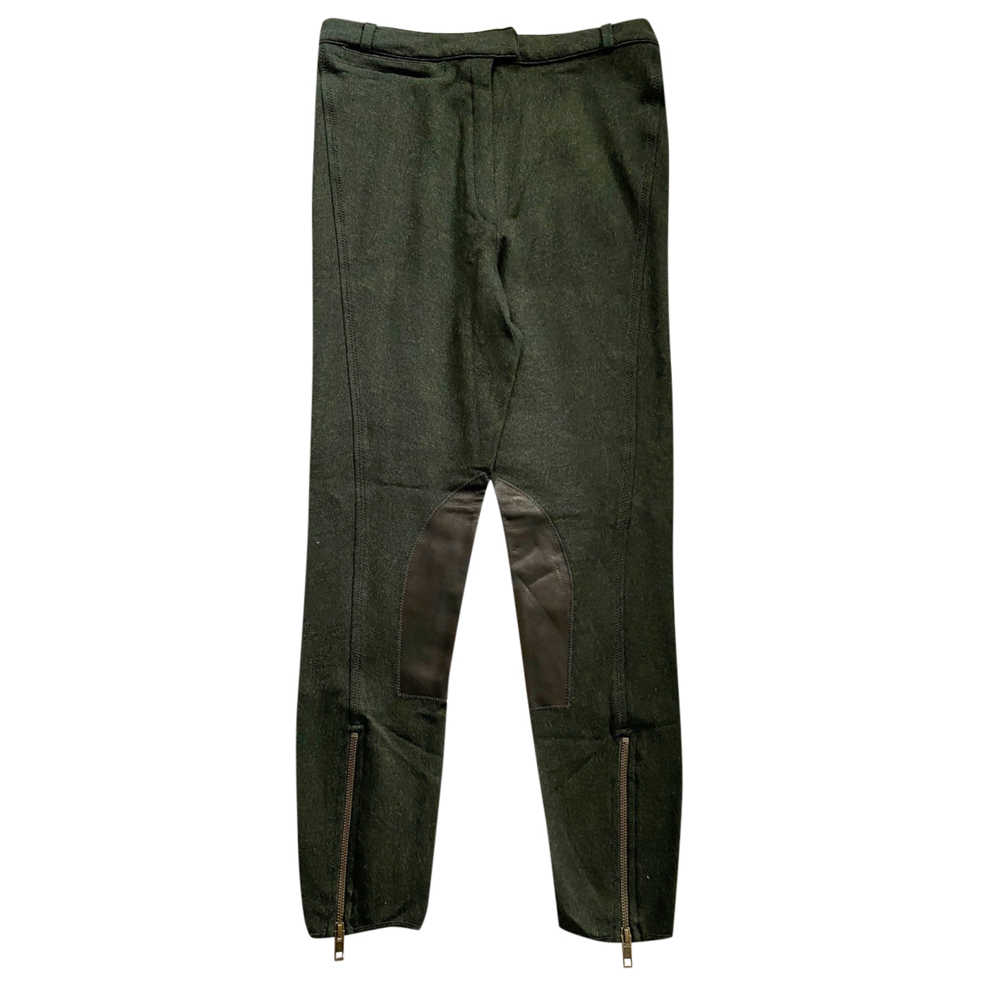 McQ Khaki Leather trimmed Leggings