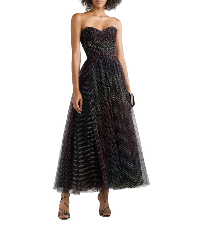 Monique Lhuuillier Dotted Tulle Strapless Gown