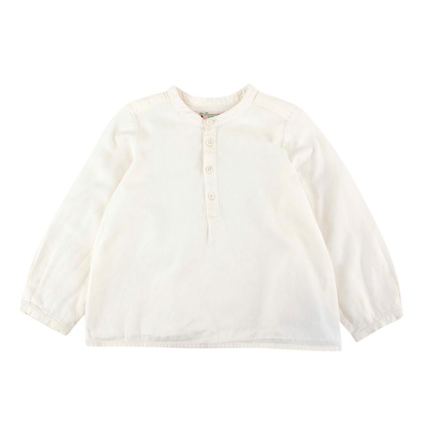 Bonpoint Ecru Cotton Long Sleeve Button-up Top