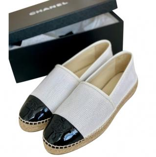 Chanel White Sequin Patent Cap-Toe Espadrilles