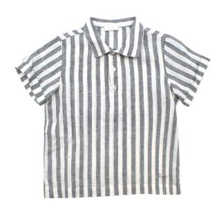 Il Gufo Grey Striped Linen Short Sleeved Shirt