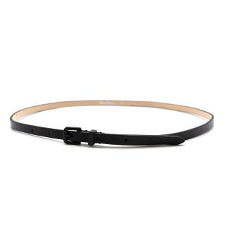 Max Mara Black Leather Skinny Belt