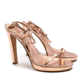 Sergio Rossi Rose Gold Leather Strappy Sandals