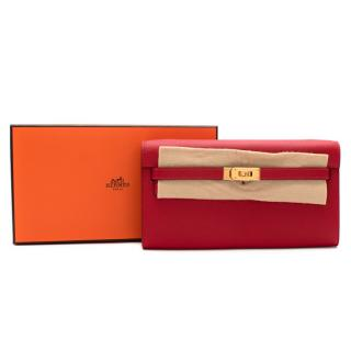Hermes Rouge Casaque Epsom Leather Kelly To Go Clutch GHW