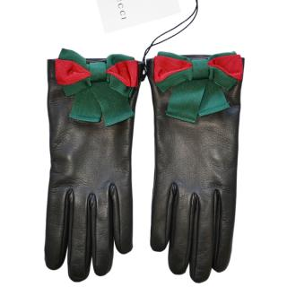 Gucci Black Leather Web Bow Gloves