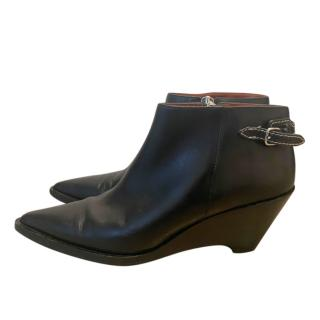 Acne Black Leather Low Ankle Boots