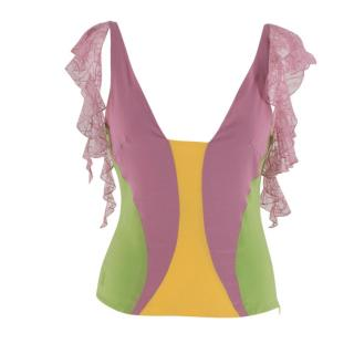 Gianni Versace Couture Vintage Silk and Lace Top