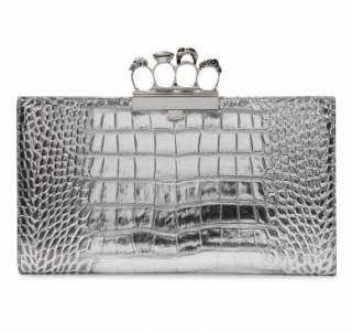 Alexander McQueen Silver Croc Embossed Four Ring Skull Clutch
