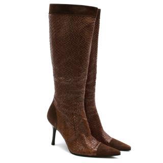 Dolce & Gabbana Brown Snakeskin & Suede Heeled Vintage Long Boots