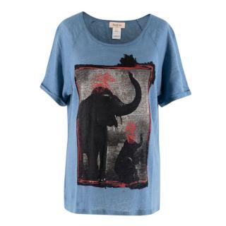 Paul & Joe Blue Elephant Print Linen Top