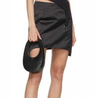 Coperni Black Croc Embossed Mini Swipe Bag