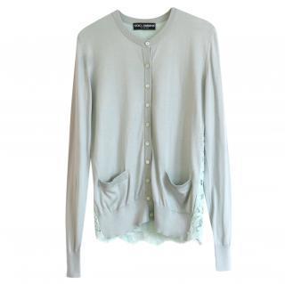 Dolce & Gabbana Lace Trimmed Mint Green Silk Blend Knit Cardigan