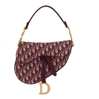 Dior Burgundy Oblique Embroidered Canvas Saddle Bag