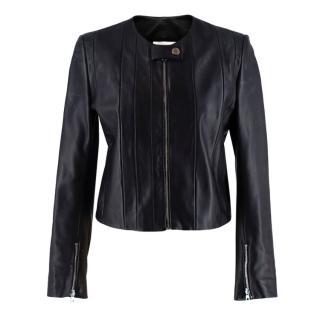 Sandro Black Collarless Leather Jacket