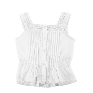 Bonpoint White Cotton Lace Details Ruffled Top