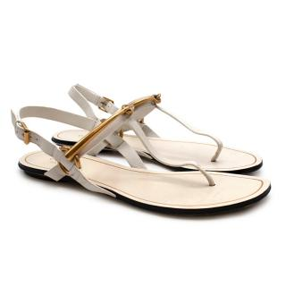Gucci White Leather Horse Bit Flat Sandals
