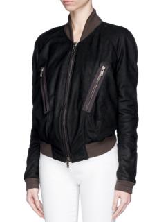 Haider Ackermann Cropped Back Leather Bomber Jacket