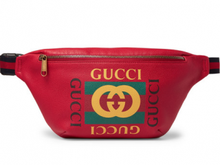 Gucci Web Trimmed Printed Red Leather Belt Bag