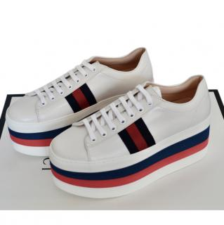 Gucci White Leather Web Platform Sneakers