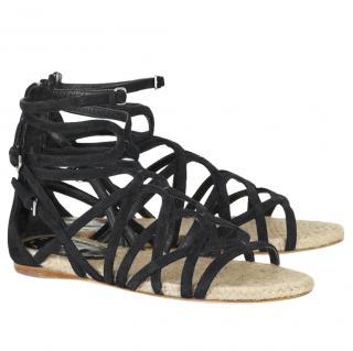 Miu Miu Black Suede Espadrille Gladiator Sandals