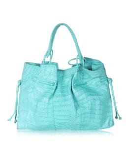 Nancy Gonzalez Turquoise Croc Tote Bag