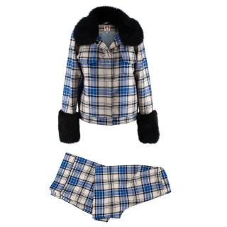 Shrimps Blue Checkered Wool Brutus Set of Trousers & Jacket