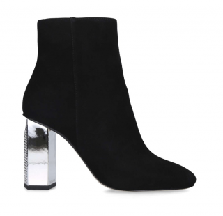 Michael Kors Black Suede Petra Crystal Heel Ankle Boots