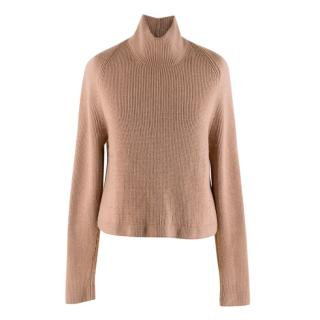 Tom Ford Blush Cotton Silk & Cashmere Blend High Neck Sweater
