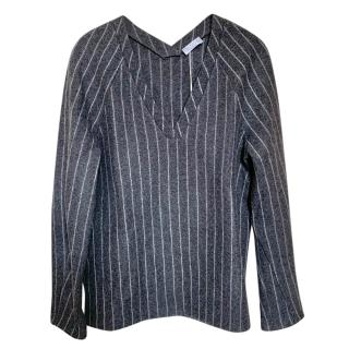 Brunello Cucinelli Charcoal Striped Wool Top