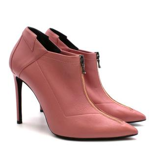 Roland Mouret Pink Leather Heeled Ankle Boots