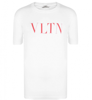 Valentino White & Red Vltn Crew Neck T Shirt