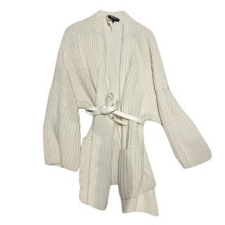Loro Piana cream cashmere cardigan with leather waist belt