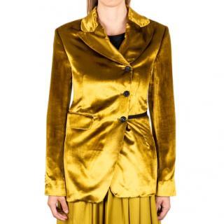 Ann Demeulemeester Gold Velvet Asymmetric Blazer