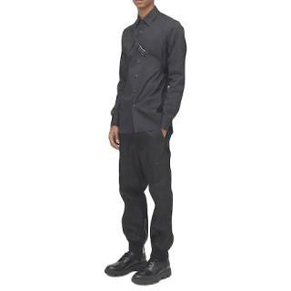 Prada Black Cotton Poplin Mens Shirt