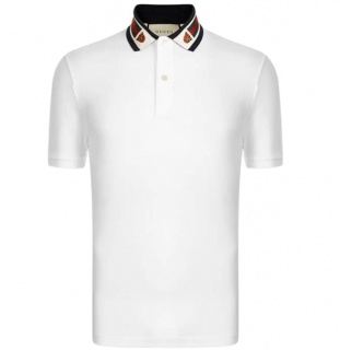 Gucci Tiger Collar Mens White Polo T-Shirt
