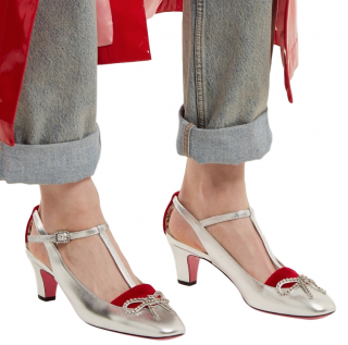 Gucci Metallic Silver & Red Velvet Crystal Embellished Pumps