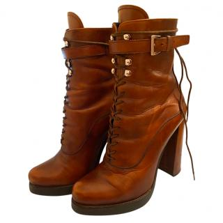 Prada Brown Leather Lace-Up Ankle Boots