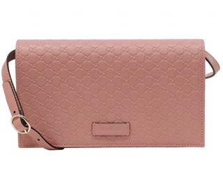 Gucci Soft Pink Micro Guccissima Wallet on Chain