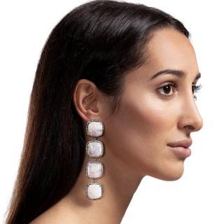 Opaline four tier moonstone earrings