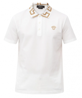 Versace White Greca-collar cotton-piqu� polo shirt