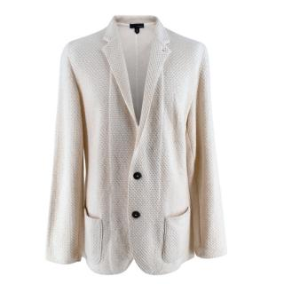 Lardini Ivory Wool & Alpaca Blend Textured Knit Blazer Jacket