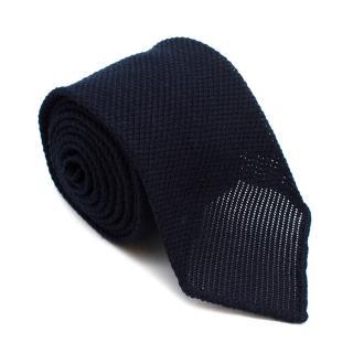 Emma Willis Navy Textured Silk & Wool Blend Tie