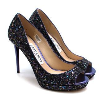 Jimmy Choo Purple Glitter Peep Toe Platform Pumps Size 34