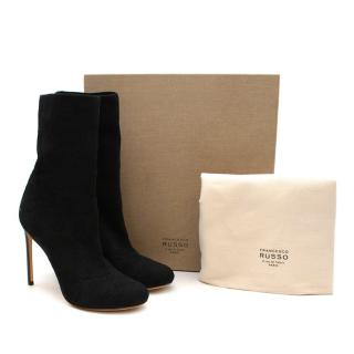 Francesco Russo Black Pointelle-knit Cotton Sock Boots