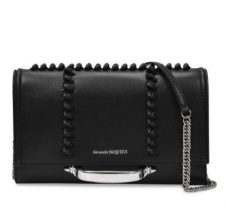 Alexander McQueen Black Smooth Leather Small Story Crossbody Bag