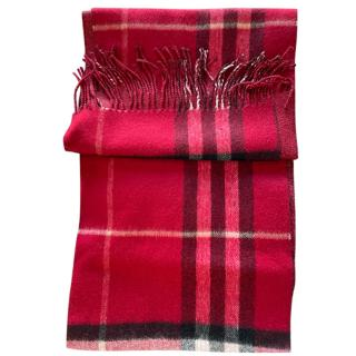 Burberry Red Classic Check Cashmere Scarf