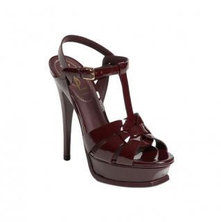 Saint Laurent Burgundy Patent Tribute Sandals