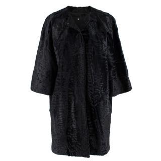 J Mendel Black Astrakhan Fur Collarless Coat